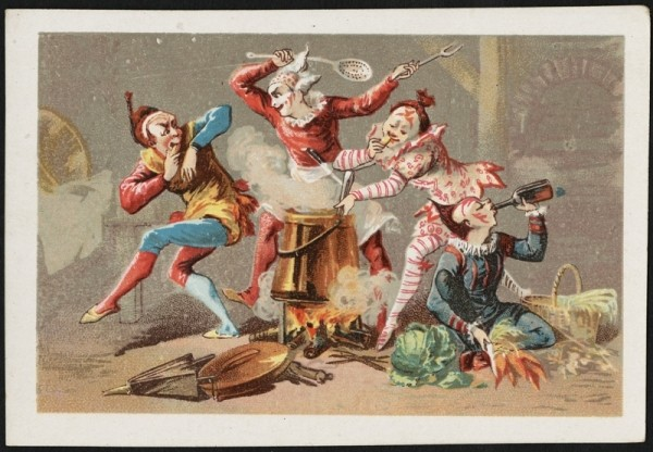 Four clowns cooking over a fire - one drinks a bottle, one stirs a pot, two are play fighting in the background. [front]